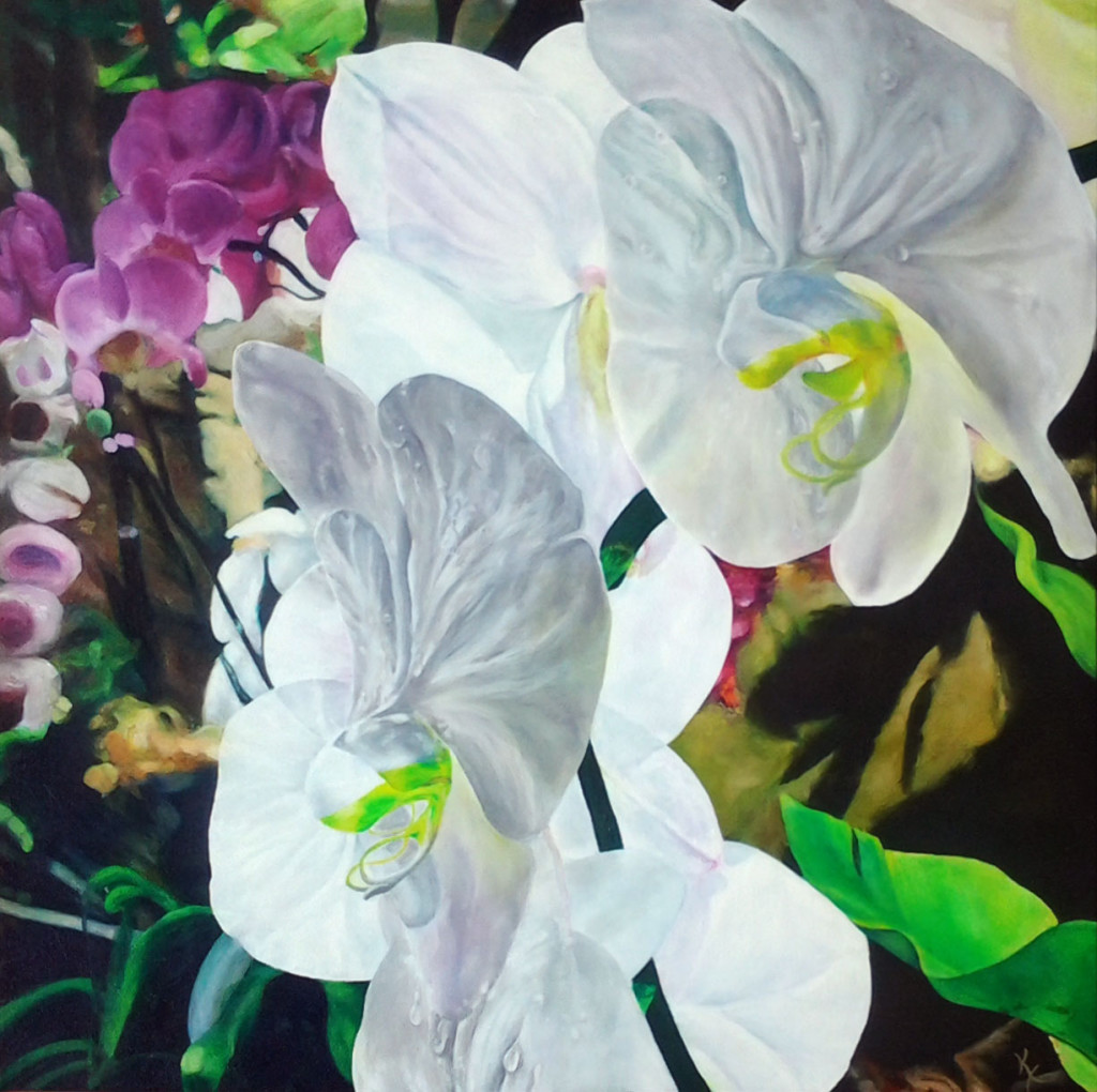 "Orchids: Acrylic and Oil on Canvas, 30""x30"""