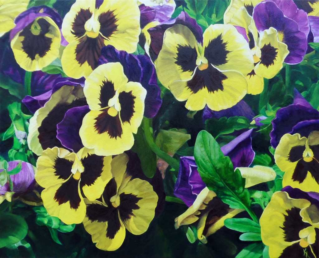 "Pansies: Acrylic and Oil on Canvas, 24""x30"""
